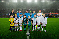 Jason Pearce of Charlton Athletic and Matt Grimes of Swansea City with mascots during the Sky Bet Championship match between Swansea City and Charlton Athletic at the Liberty Stadium in Swansea, Wales, UK.  Thursday 02 January 2020