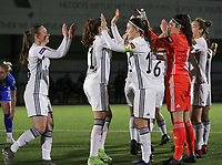 17.01.2020 OUD-HEVERLEE: OHL's captain Anaelle Wiard (10) (yellow ohl armband) high fives her team mates before  the Belgian's Women's Super League match between Oud-Heverlee Leuven vs KAA Gent Ladies on Friday 17th January 2020, Stadion Oud-Heverlee, Oud-Heverlee, BELGIUM. PHOTO: SEVIL OKTEM SPORTPIX.BE
