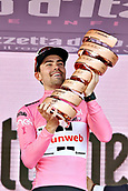 28th May 2017, Milan, Italy; Giro D Italia; stage 21 Monza to Milan; Team Sunweb; Tom Dumoulin lifts the tour trophy as winner in Milano Piazza Duomo;