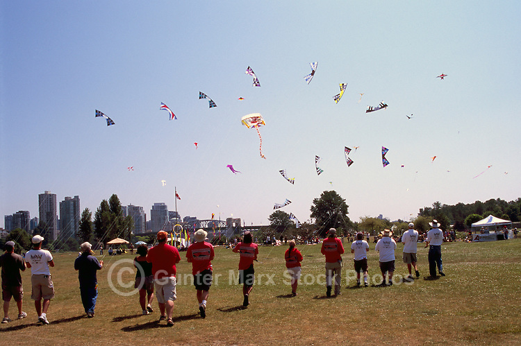 Vancouver, BC, British Columbia, Canada - Kite Flyer Teams flying Kites at International Kite Flying Festival at Vanier Park, Summer