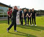 Ally McCoist tees off at Mearns Castle watched by Donald MacLeod (chairman of Nordof Robbins), Jorg Albertz, James and Ben Johnston (Biffy Clyro) and Sam McNulty (Twin Atlantic)