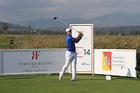 Nino Bertasio (ITA) on the 14th tee during Round 1 of the Rocco Forte Sicilian Open 2018 on Thursday 10th May 2018.<br /> Picture:  Thos Caffrey / www.golffile.ie<br /> <br /> All photo usage must carry mandatory copyright credit (&copy; Golffile | Thos Caffrey)