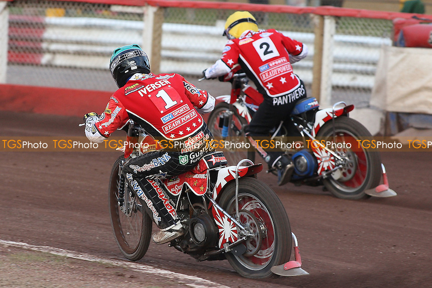 Heat 5: Ales Dryml (yellow) and Niels Kristian Iversen (green) give chase - Lakeside Hammers vs Peterborough Panthers - Sky Sports Elite League Speedway at Arena Essex Raceway - 19/06/09- MANDATORY CREDIT: Gavin Ellis/TGSPHOTO - Self billing applies where appropriate - 0845 094 6026 - contact@tgsphoto.co.uk - NO UNPAID USE.