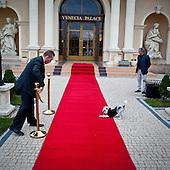 WARSAW, POLAND, NOVEMBER 2011:.Waclaw Gozlinski, on the right, owner of Venecia Palace Hotel. It was built in 2008 by Polish businessman Waclaw Gozlinski, who concluded that clients, often watching American class B movies and soap operas, are now seeking for fancy, often kitchy interiors for their parties and gatherings..As Poles are getting richer, this place is now the most popular wedding party spot in Poland, which now needs to be booked over a year in advance..(Photo by Piotr Malecki / Napo Images)..Warszawa, Listopad 2011:.Waclaw Gozlinski, po prawej, wlasciciel hotelu Venecia Palace.Zbudowal go 2008 roku , gdy zauwazyl, ze Polacy coraz czesciej preferuja kiczowate wesela w ociekajacych sztukateria wnetrzach jak w Las Vegas lub telewizyjnych operach mydlanych. Hotel jest ogromnym sukcesem, czesto trzeba go rezerwowac z ponad rocznym wyprzedzeniem..Fot: Piotr Malecki / Napo Images