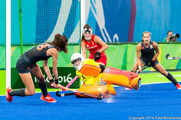 Maddie Hinch #1 of Great Britain makes a save from a shot by Naomi van As #18 of Netherlands during Netherlands vs Great Britain in the gold medal final at the Rio 2016 Olympics at the Olympic Hockey Centre in Rio de Janeiro, Brazil.