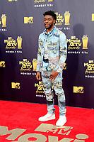 LOS ANGELES - JUN 16:  Chadwick Boseman at the 2018 MTV Movie And TV Awards at the Barker Hanger on June 16, 2018 in Santa Monica, CA