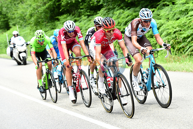 The breakaway group forms during Stage 6 of the Criterium du Dauphine 2017, running 147.5km from Parc des Oiseaux - Villars-les-Dombes to La Motte-Servolex, France. 9th June 2017. <br /> Picture: ASO/A.Broadway | Cyclefile<br /> <br /> <br /> All photos usage must carry mandatory copyright credit (&copy; Cyclefile | ASO/A.Broadway)