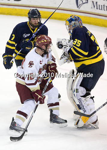 Karl Stollery (Merrimack - 7), Ben Smith (BC - 12), Joe Cannata (Merrimack - 35) - The Boston College Eagles defeated the Merrimack College Warriors 7-0 on Tuesday, February 23, 2010 at Conte Forum in Chestnut Hill, Massachusetts.