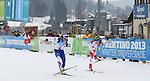 Jitka Landova, Weronika Nowakowska cross the finish line of  the Ladies 12.5 km MS Biathlon race as part of the Winter Universiade Trentino 2013 on 20/12/2013 in Lago Di Tesero, Italy.<br /> <br /> &copy; Pierre Teyssot - www.pierreteyssot.com