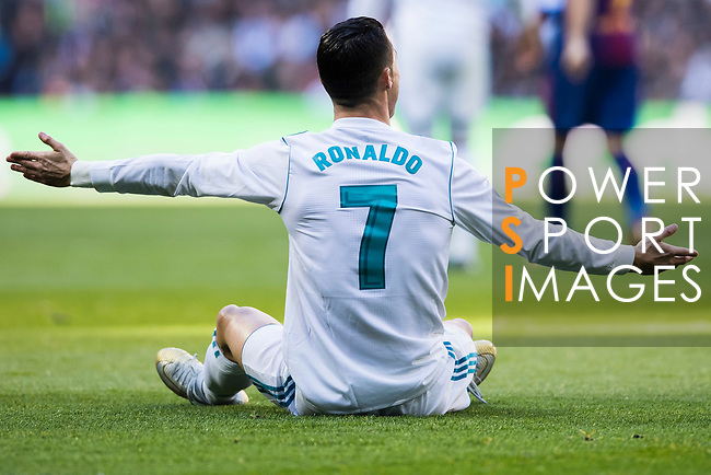 Cristiano Ronaldo of Real Madrid reacts during the La Liga 2017-18 match between Real Madrid and FC Barcelona at Santiago Bernabeu Stadium on December 23 2017 in Madrid, Spain. Photo by Diego Gonzalez / Power Sport Images