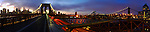 A panoramic view of the Brooklyn Bridge and the Manhattan Bridge at twilight.  This photograph was created on March 18th, 2012.