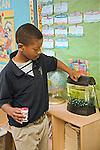 African American 7+ male in school uniform feeds fish food into tank in classroom in Louisiana school