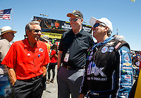 Jul 30, 2016; Sonoma, CA, USA; NHRA president Peter Clifford (center) with team owner Don Schumacher (left) and funny car driver John Force during qualifying for the Sonoma Nationals at Sonoma Raceway. Mandatory Credit: Mark J. Rebilas-USA TODAY Sports