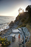 USA, California, Big Sur, Esalen, woman walks down to the Baths to take a soak, the Esalen Institute