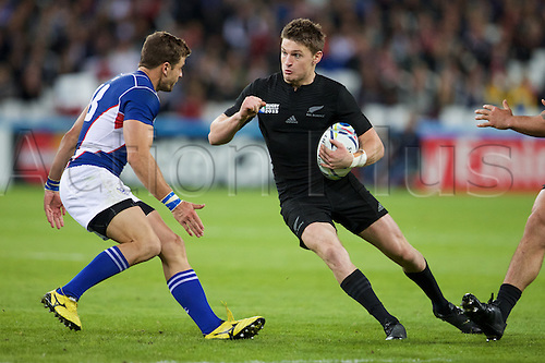24.09.2015. Olympic Stadium, London, England. Rugby World Cup. New Zealand versus Namibia. New Zealand All Black fly-half Beauden Barrett.