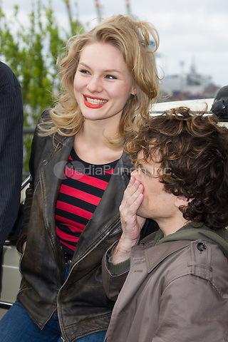Rosalie Thomass and Peter Dinklage attending the Taxi photocall held at Fischmarkt, Hamburg, Germany, 14.04.2014. <br /> Photo by Christopher Tamcke/insight media /MediaPunch ***FOR USA ONLY***