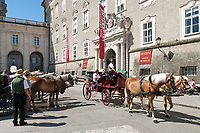 Oesterreich, Salzburger Land, Salzburg, Mit dem Fiaker durch die Altstadt, auf dem Residenzplatz | Austria, Salzburger Land, Salzburg, A Fiaker ride through Down Town at Residence Square