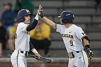 Michigan Wolverines designated hitter Nick Poirier (28) is greeted by teammate Michael Brdar (9) after scoring against the Michigan State Spartans during the NCAA baseball game on April 18, 2017 at Ray Fisher Stadium in Ann Arbor, Michigan. Michigan defeated Michigan State 12-4. (Andrew Woolley/Four Seam Images)