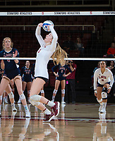 STANFORD, CA - December 1, 2018: Jenna Gray at Maples Pavilion. The Stanford Cardinal defeated Loyola Marymount 25-20, 25-15, 25-17 in the second round of the NCAA tournament.