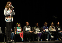 NWA Democrat-Gazette/ANDY SHUPE<br /> Third-place finisher Olivia Zweig, a student at The New School in Fayetteville, spells a word Saturday, Jan. 12, 2019, while competing in the Washington County Spelling Bee at the Farmington Performing Arts Center.