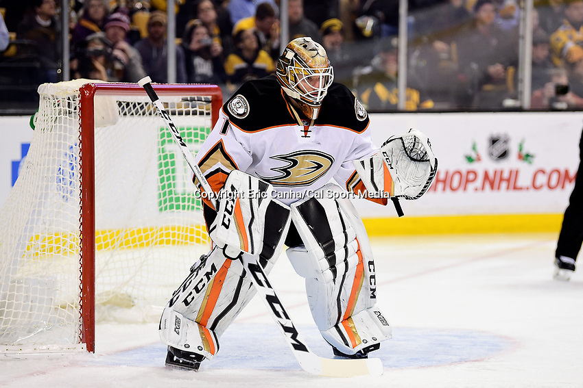 Thursday, December 15, 2016: Anaheim Ducks goalie Jonathan Bernier (1) waits for the puck to drop during the National Hockey League game between the Anaheim Ducks and the Boston Bruins held at TD Garden, in Boston, Mass. The Ducks beat the Bruins 4-3 in regulation time. Eric Canha/CSM