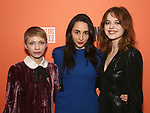 """Tavi Gevinson, Lauren Patten and Odessa Young attends the After Party for the Second Stage Production of """"Days Of Rage"""" at Churrascaria Platforma on October 30, 2018 in New York City."""