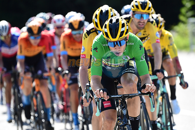 The peloton led by Wout Van Aert (BEL) and Team Jumbo-Visma during Stage 4 of Criterium du Dauphine 2020, running 157km from Ugine to Megeve, France. 15th August 2020.<br /> Picture: ASO/Alex Broadway | Cyclefile<br /> All photos usage must carry mandatory copyright credit (© Cyclefile | ASO/Alex Broadway)