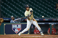 Jayson Gonzalez (99) of the Vanderbilt Commodores at bat against the Houston Cougars during game nine of the 2018 Shriners Hospitals for Children College Classic at Minute Maid Park on March 3, 2018 in Houston, Texas. The Commodores defeated the Cougars 9-4. (Brian Westerholt/Four Seam Images)