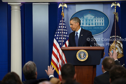 United States President Barack Obama leaves the podium after responding to questions from the news media during a press conference at the White House in Washington, DC, USA, 01 March 2013. President Obama responded to questions in the White House briefing room after a meeting with congressional leaders on the sequester..Credit: Shawn Thew / Pool via CNP