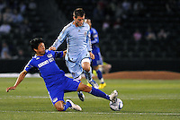 Roger Espinoza (blue), Colin Clark...Kansas City Wizards defeated Colorado Rapids 1-0 at Community America Ballpark, Kansas City,Kansas.