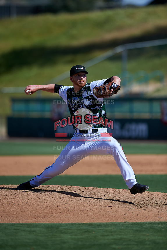 Lake Elsinore Storm relief pitcher Steven Wilson (24) during a California League game against the Inland Empire 66ers on April 14, 2019 at The Diamond in Lake Elsinore, California. Lake Elsinore defeated Inland Empire 5-3. (Zachary Lucy/Four Seam Images)