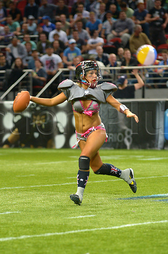 09.06.2012. Sydney, Australia.  Eastern Conference and Tampa Breeze quarterback KK Matheny escapes the pocket during the Sydney LFL Australia All-Star Fantasy Game at Allphones Arena, Sydney Australia.