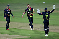 Calum Haggett of Kent celebrates with his team mates after taking the wicket of Ryan ten Doeschate during Kent Spitfires vs Essex Eagles, Vitality Blast T20 Cricket at the St Lawrence Ground on 2nd August 2018