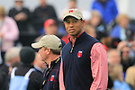 Team USA members Tiger Woods walks off the 1st tee during Practice Day 3 of the The 2010 Ryder Cup at the Celtic Manor, Newport, Wales, 29th September 2010..(Picture Eoin Clarke/www.golffile.ie)