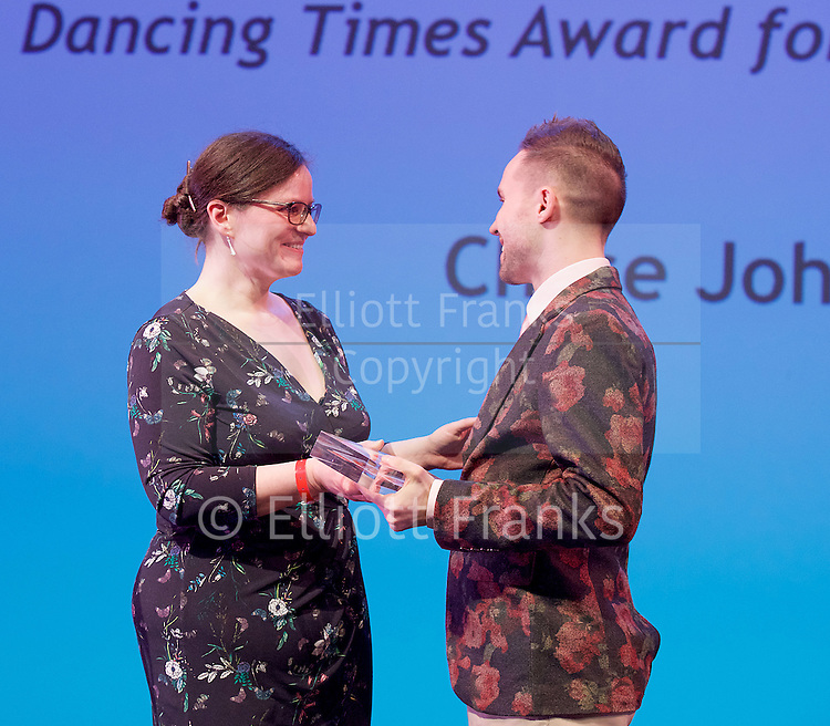 The Critics' Circle National Dance Awards 2016 <br /> at the Lilian Baylis Studio, Sadler's Wells, London, Great Britain <br /> <br /> 6th February 2017 <br /> Zoe Anderson with Chase Johnsey<br /> <br /> <br /> <br /> Photograph by Elliott Franks <br /> Image licensed to Elliott Franks Photography Services