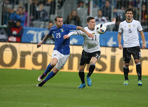 29.03.2016. Munich, Germany. International soccer match between Germany and Italy, at the Allianz Arena in Munich.  Julian Draxler Germany and Frederico Bernardeschi