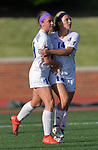 Notre Dame's Megan Heisserer (right) is congratulated by teammate Mary Dimberger after scoring on Rosati-Kain. Notre Dame High School (Cape Girardeau) defeated Rosati-Kain in the Class 2 girls quarterfinal game played at St. Louis University High School in St. Louis, MO on Wednesday May 22, 2019.<br />Tim Vizer/Special to Southeast Missourian