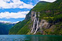 Gerainger Fjord and Seven Sisters Waterfall, World Heritage Site, Atlantic Ocean , Norway
