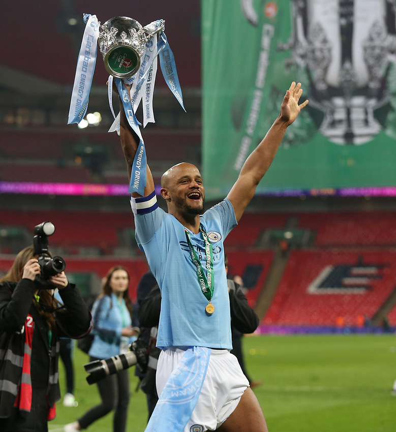 Manchester City's Vincent Kompany with the trophy<br /> <br /> Photographer Rob Newell/CameraSport<br /> <br /> The Carabao Cup Final - Chelsea v Manchester City - Sunday 24th February 2019 - Wembley Stadium - London<br />  <br /> World Copyright © 2018 CameraSport. All rights reserved. 43 Linden Ave. Countesthorpe. Leicester. England. LE8 5PG - Tel: +44 (0) 116 277 4147 - admin@camerasport.com - www.camerasport.com