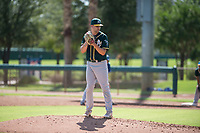 Oakland Athletics relief pitcher Charlie Cerny (78) gets ready to deliver a pitch during an Instructional League game against the Los Angeles Dodgers at Camelback Ranch on October 4, 2018 in Glendale, Arizona. (Zachary Lucy/Four Seam Images)