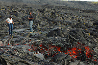 Small lava flow and tourists high up the Pali Hawaii, USA Volcanoes National Park, Big Island, Hawaii, USA, Pacific Ocean