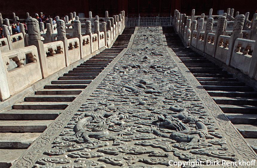 China, Kaiserpalast von Peking, Geschnitzte Steinplatte hinter Halle der Erhaltung der Harmonie, Unesco-Weltkulturerbe