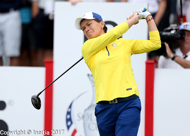 DES MOINES, IA - AUGUST 19: Europe's Catriona Matthew watches her tee shot on the 10th hole during Saturday morning's foursomes match at the 2017 Solheim Cup in Des Moines, IA. (Photo by Dave Eggen/Inertia)