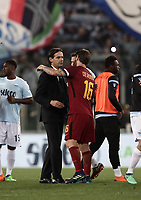 Calcio, Serie A: S.S. Lazio - A.S. Roma, stadio Olimpico, Roma, 15 aprile 2018. <br /> Roma's captain Daniele De Rossi (r) greets Lazio's coach Simone Inzaghi (l) at the end of the Italian Serie A football match between S.S. Lazio and A.S. Roma at Rome's Olympic stadium, Rome on April 15, 2018. <br /> S.S. Lazio and A.S. Roma drawn 0-0.<br /> UPDATE IMAGES PRESS/Isabella Bonotto
