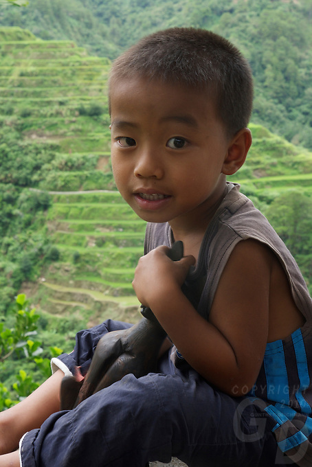 Local Boy at Banaue Mountain Province Rice Terraces Philippines
