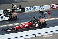 Nov 10, 2018; Pomona, CA, USA; NHRA top fuel driver Richie Crampton during the Auto Club Finals at Auto Club Raceway. Mandatory Credit: Mark J. Rebilas-USA TODAY Sports