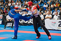 Gold medalist Paulina Jarzmik (R) of Poland and silver medalist Luna Mendy (L) of Italy fight in the 2 LC 041 S F -60 kg final at the WAKO (World Association of Kickboxing Organizations) World Kick-boxing Championships in Budapest, Hungary on Nov. 10, 2017. ATTILA VOLGYI