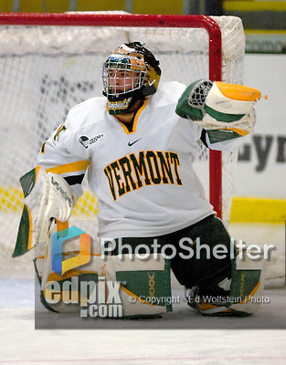 """5 January 2007: University of Vermont goaltender Jeff Hill (1) from Cranston, RI, warms up prior to a Hockey East matchup against the University of New Hampshire Wildcats at Gutterson Fieldhouse in Burlington, Vermont. The UNH Wildcats defeated the UVM Catamounts 7-1 in front of a record setting 48th consecutive sellout at """"the Gut""""...Mandatory Photo Credit: Ed Wolfstein Photo.<br />"""