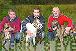 RUBDOWN: Getting their greyhounds ready for the Abbeydorney Coursing on Saturday in Abbeydorney, l-r: Neilus and Edward O'Sullivan (Tralee) and Patrick O'Sullivan (Tarbert).