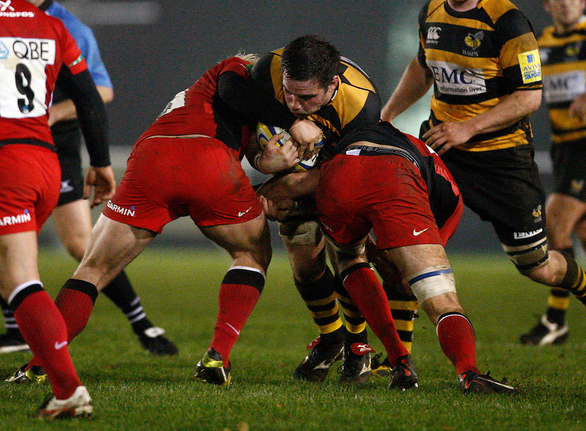 Photo: Richard Lane/Richard Lane Photography. Wasps A v Saracens Stormers. Aviva A League. 28/11/2011. Wasps' Steve Pape attacks.